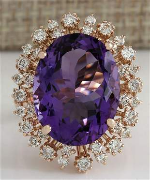 13.19 CTW Natural Amethyst And Diamond Ring In 14K