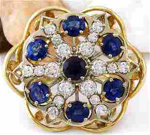 7.50 CTW Natural Sapphire 18K Solid Yellow Gold Diamond