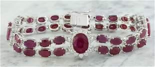 23.25 CTW Ruby 18K White Gold Diamond Bracelet