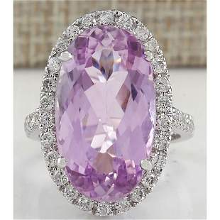 16.40 CTW Natural Kunzite And Diamond Ring 14K Solid