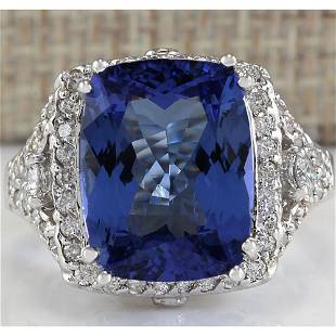 9.14 CTW Natural Blue Tanzanite And Diamond Ring In 18K