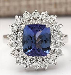 4.56 CTW Natural Blue Tanzanite And Diamond Ring 14k
