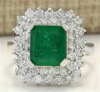 4.08 CTW Natural Emerald And Diamond Ring In 14K White