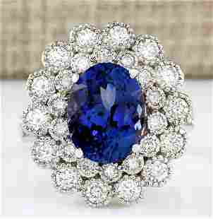 5.51 CTW Natural Blue Tanzanite And Diamond Ring 18K