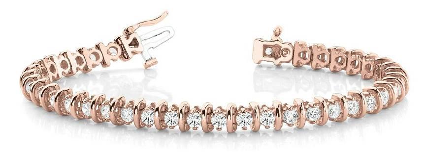 2 Carat Diamond Engagement 14K Rose Gold Bracelet