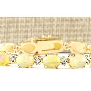 17.91 CTW Natural Opal And Diamond Bracelet In 14k