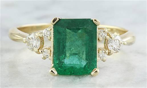 2.23 CTW Emerald 18K Yellow Gold Diamond Ring