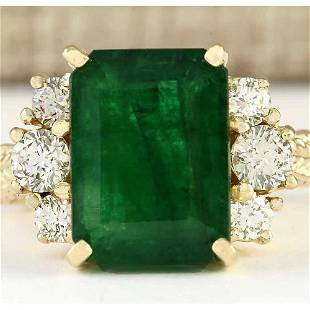 6.38 CTW Natural Emerald And Diamond Ring In 18K Yellow