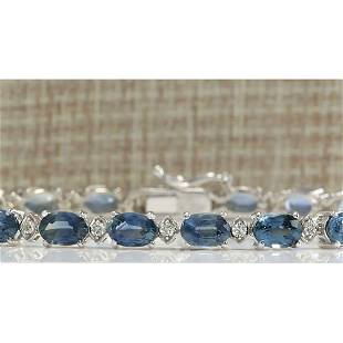 12.15 CTW Natural Sapphire And Diamond Bracelet In 18K