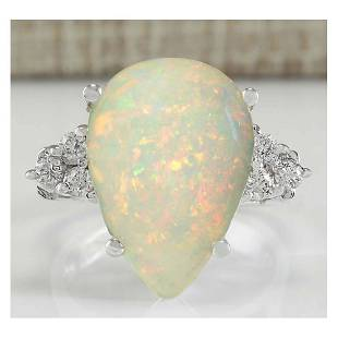 4.61 CTW Natural Opal And Diamond Ring In 14K White