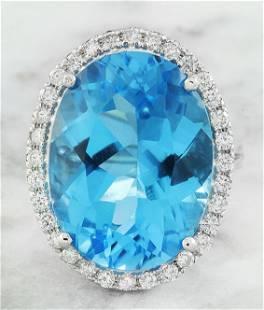 20.50 CTW Topaz 14K White Gold Diamond Ring