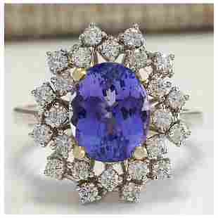 5.20 CTW Natural Tanzanite Diamond Ring 14K Solid White