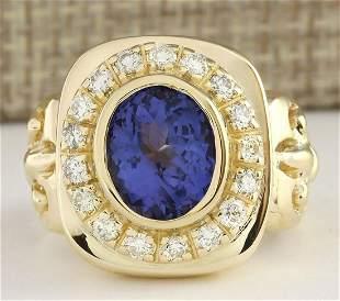5.52 CTW Natural Mens Blue Tanzanite And Diamond Ring