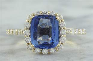3.03 CTW Sapphire 18K Yellow Gold Diamond Ring
