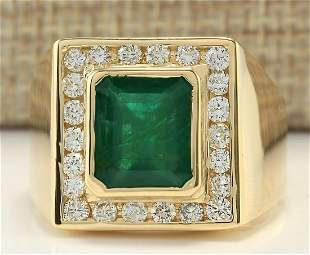 MENS 5.00 CTW Natural Mens Emerald And Diamond Ring In