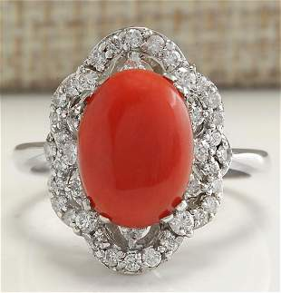 3.76 CTW Natural Red Coral And Diamond Ring 18K Solid