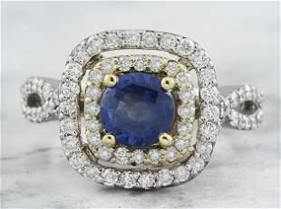 2.26 CTW Sapphire 14K Two Tone Gold Diamond Ring