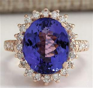 8.65 CTW Natural Blue Tanzanite And Diamond Ring 14K