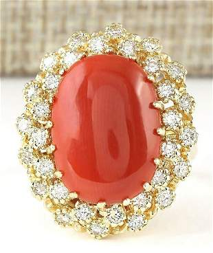9.58 CTW Natural Coral And Diamond Ring In 14k Yellow