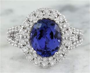 5.40 CTW Tanzanite 18K White Gold Diamond Ring