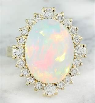 6.55 CTW Opal 14K yellow Gold Diamond Ring