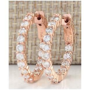 2.00 CTW Natural Diamond Hoop Earrings 14K Solid Rose