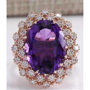 10.19 CTW Natural Amethyst And Diamond Ring In 14K