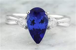1.70 CTW Tanzanite 18K White Gold Diamond Ring
