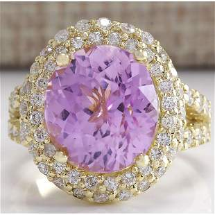 11.51CTW Natural Pink Kunzite And Diamond Ring In 14K