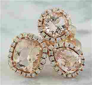 5.69 CTW Morganite 14K Rose Gold Diamond Ring
