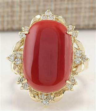 12.38CTW Natural Coral And Diamond Ring In 14K Yellow