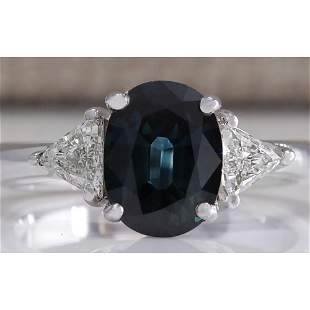 2.95 CTW Natural Blue Sapphire Diamond Ring 14K Solid