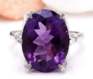 8.64 CTW Natural Amethyst 14K Solid White Gold Diamond