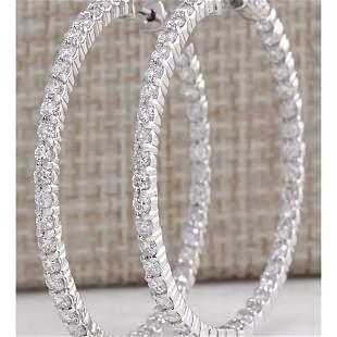 4.23 CTW Natural Diamond Hoop Earrings 14K Solid White