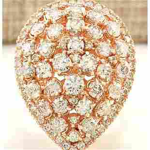3.70 CTW Natural Diamond Ring In18K Solid Rose Gold