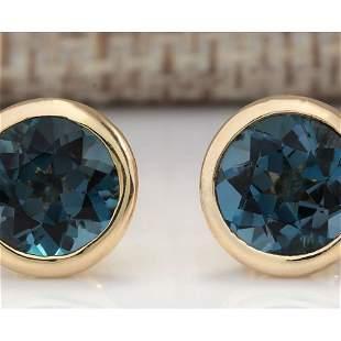 3.00 CTW Natural London Blue Topaz Earrings 18K Solid