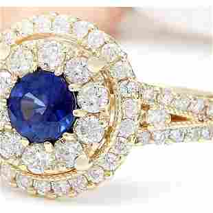 2.10 CTW Natural Sapphire 18K Solid Yellow Gold Diamond