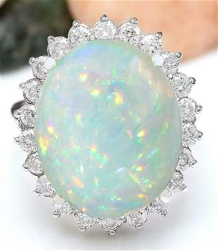14.41 CTW Natural Opal 14K Solid White Gold Diamond