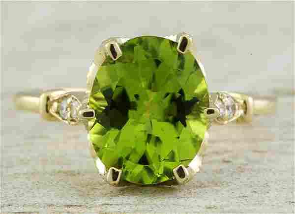 3.41 CTW Peridot 18K Yellow Gold Diamond Ring