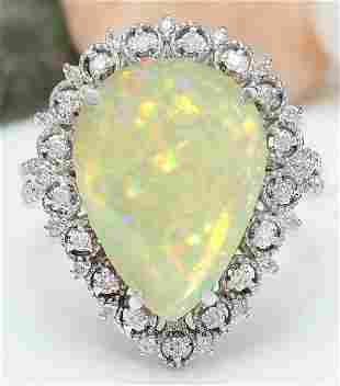 6.55 CTW Natural Opal 18K Solid White Gold Diamond Ring