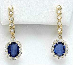 4.77 CTW Natural Sapphire 18K Solid Yellow Gold Diamond
