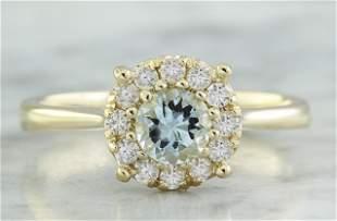 0.72 CTW Aquamarine 18K Yellow Gold Diamond Ring
