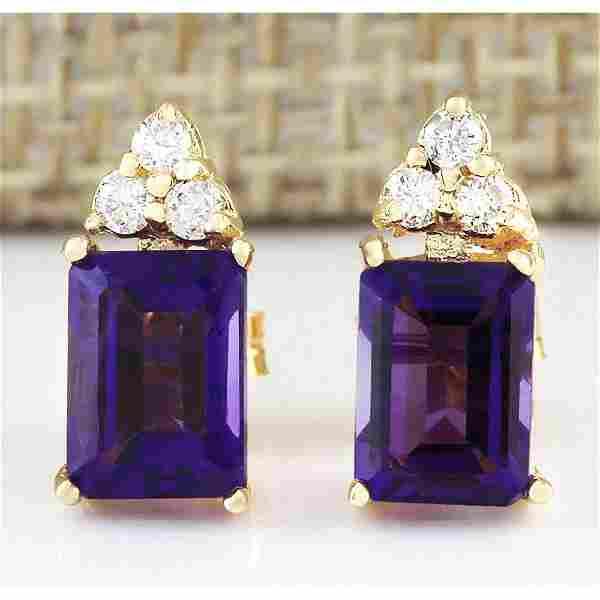 2.66 CTW Natural Amethyst And Diamond Earrings 14k