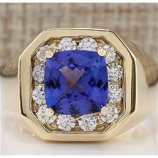 MENS 4.04 CTW Natural Blue Tanzanite And Diamond Ring