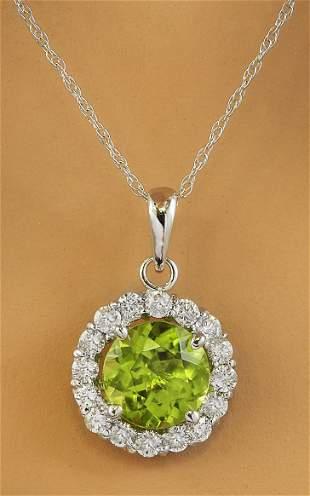 1.82 CTW Peridot 14K White Gold Diamond Necklace