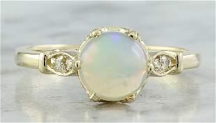 1.08 CTW Opal 14K Yellow Gold Diamond Ring