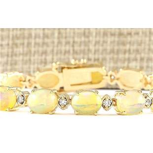 17.91 CTW Natural Opal And Diamond Bracelet In 18K