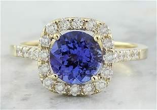 2.28 CTW Tanzanite 18K Yellow Gold Diamond ring