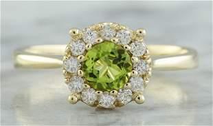 0.72 CTW Peridot 18K Yellow Gold Diamond Ring