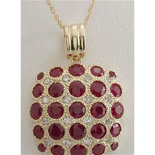 5.61 CTW Natural Ruby And Diamond Pendant In 14K Solid